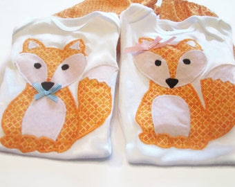 Boy Girl Twin Outfits, Fox Outfits For Twins, Orange Fox, Twin Baby Gift, Twin Baby Fashion, 0-3 Month Twin Babies
