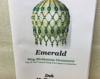 SALE! Beaded Ornament Kit, Make Your own, Deb Moffatt-Hall, Birthstone May, Emerald, Holiday Ornament Kit