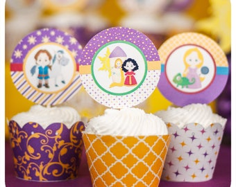 Tangled party; Tangled Birthday Party; Tangled Cupcake Wrappers and Toppers; Rapunzel Party; Tangled Party Decor; Tangled; Tangled Birthday