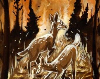 Fire Starters - 9x12 - Acrylic on Hardboard, Deer, Forest Fire, Traditional