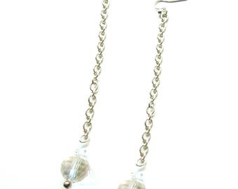 Long Sterling Silver Earrings with Crystal Bead dangle