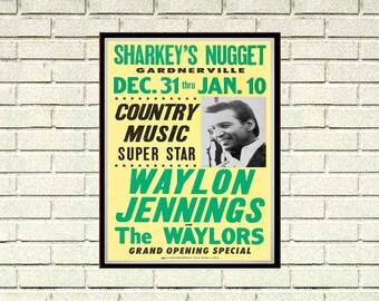 Reprint of a Waylon Jennings Country Music Concert Poster