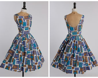 Vintage original 1950s 50s abstract novelty print dress low back UK 6 8 US 2 4 XS S