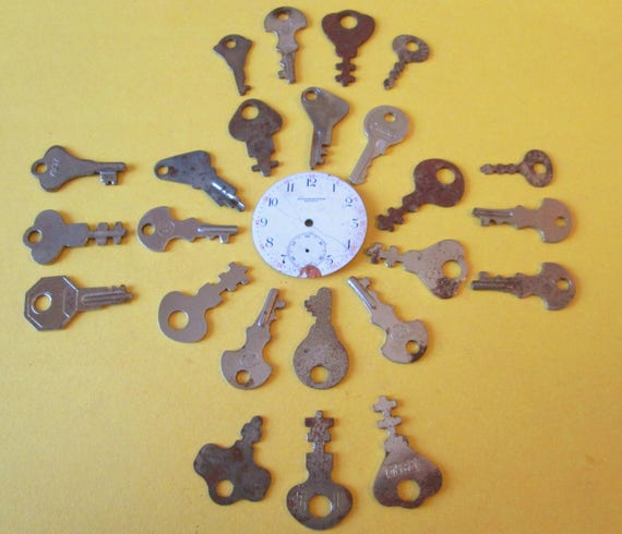 24 Assorted Vintage Keys for your Steampunk Art Projects,  Jewelry making + Etc