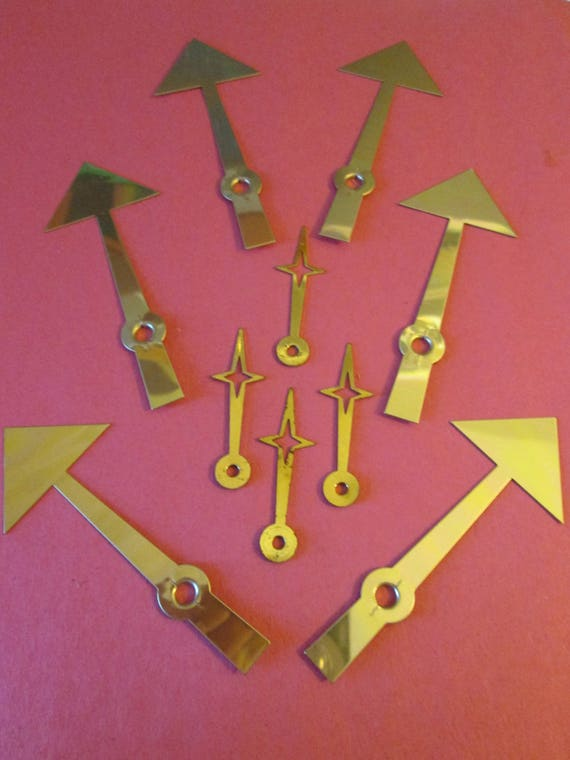 10 Vintage Solid Brass and Brass Plated Arrow and Star Design Clock Hands for your Clock Projects - Jewelry Making - Steampunk Art