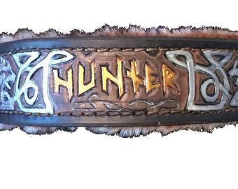 Nordic/Celtic Wolves Hand Tooled Leather Dog Collar