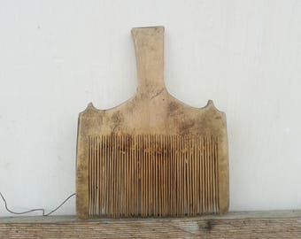 Antique wool comb 1930ies - Wool carder - Country wall hangind - Primitives rustic decor - Vintage tool - Wooden comb - Primitive decor.