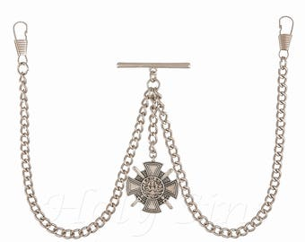 Double Albert Silver Colour Pocket Watch Fob Chain With   Pendant 056