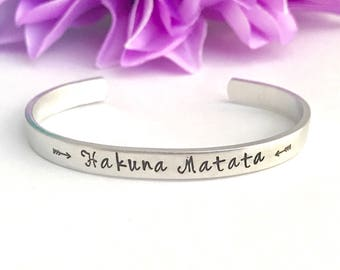 Hakuna matata , means no worries  inspirational cuff bracelet inspirational stamped message  - Hand stamped Bracelet , friend, working hard,