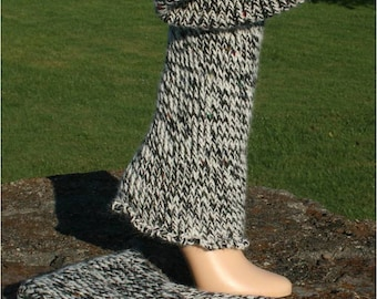 Hand Knit Leg Warmers in Black and White Tweed