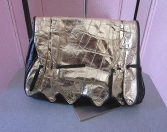 1980s Black Leather and Embossed Gold Leather Shoulder Bag