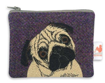Pug purse - pug coin purse - purple Harris Tweed purse - pug zip purse - tweed coin purse - embroidered pug purse - applique pug bag