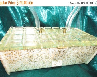 SALE VINTAGE Mother of Pearl Gold Confetti Lucite with Clear Raised Beveled Square Cut Lucite Lid B8