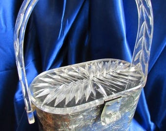 SALE Vintage Grey Marbleized Lucite Purse Splashed with Silver Threads  * Clear Double Carved Lucite Lid! b1