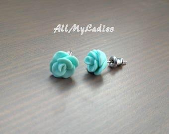 Earrings in polymer clay flowers blue Mint