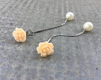Light salmon color with chain resin Flower Earrings White Pearl