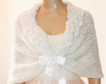 White Wedding Shawl, Bridal Shawl, Bridal Wedding Stole,  White Silver Shawl,  Knit Shawl,  Capelet, Wedding Capelet, Bridesmaids Gift Shawl