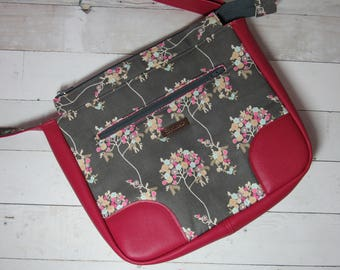 Shoulder Bag / Cross Body Bag / Purse in Pretty Art Gallery Gray / Pink Floral Fabric with Pink Vinyl Accents - Flowers, Magenta, Aqua, Grey