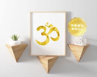 Om Wall Art - Om Quote - Gold Foil - Om Symbol - Om Decor - Yoga Decor - Yoga Art - Namaste Decor - Yoga Quotes - Yoga Studio Print