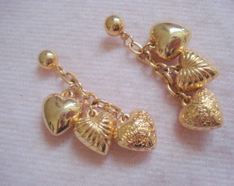 TRIPLE HEARTS Excellent Quality Vintage Pierced Earrings A++ Condition #354