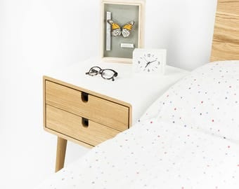 white nightstand bedside table midcentury modern retro style with 1 or