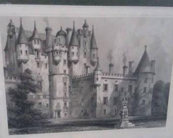 Vintage Print 1896 Steel Engraving Glammis Castle Scotland