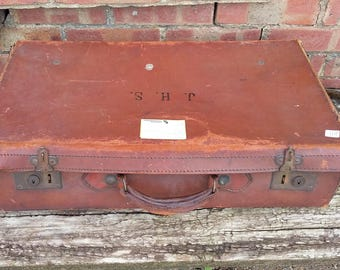 Vintage Leather Luggage Suitcase Storage J H S