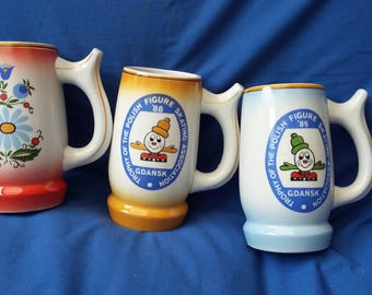 3 Vintage Polish Pottery Beer Mugs Gdansk Polish Figure Skating Association Sport
