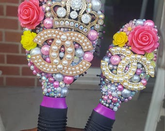 Custom Bling Cushion Paddle Brush Set