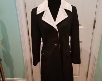 Vintage 60's Black and White Lilli Ann Ribbed Coat