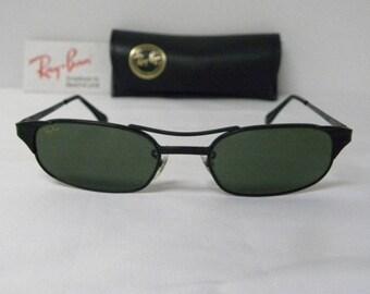 5f7f7f98a5e New Vintage B L Ray Ban Signet Rectangle W1397 Black Sunglasses usa