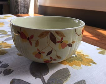 1930s, Vintage Hall's Superior Quality Kitchenware, Autumn Leaf Radiance,  Bowl, Jewel Homemakers Institute, yellow, pottery, good condition