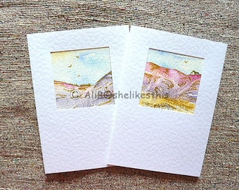 Original watercolour landscape handmade art cards blank greeting cards with envelopes