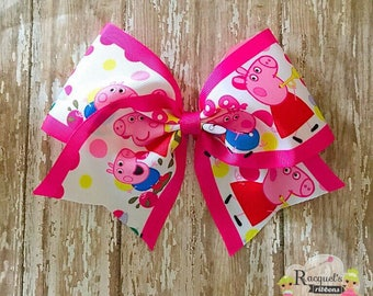 Peppa Pig cheer bow