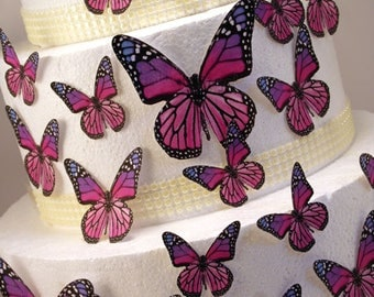 Edible Butterfly Cake Decorations, Pink and Purple Edible Butterflies, Set of 24 DIY Cake Decor, Edible Cake Decorations, DIY Wedding Cake