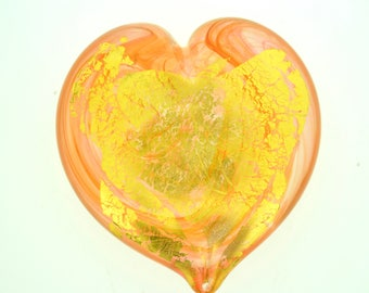 Heart of Gold Art Glass Paperweight, Gold, Small #5