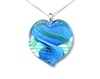 Ribbon Stardust Lampworked Art Glass Heart Pendant, Aqua with Green Stripes