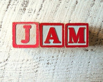 JAM - Wood Sign, Vintage Toy Letter Block Sign – Fused 3D Wooden Party & Wedding Table Sign , Holiday Ornament, Gift