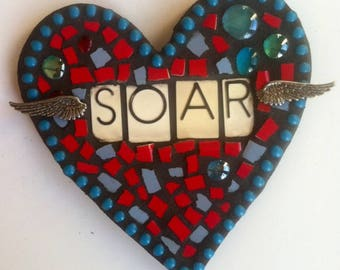 Soar Mixed Media Mosaic Heart with Wings-Home & Garden Decor