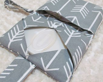 SALE!!!Gray Arrows Diaper and Baby Wipe Clutch