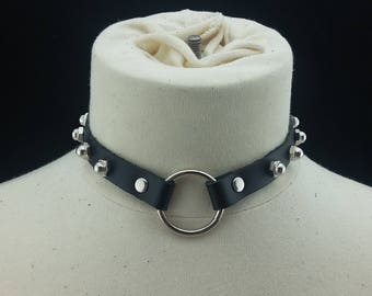 Choker Genuine Leather - Choker Collar Black Leather Choker with Silver O Ring and Dome Nuts
