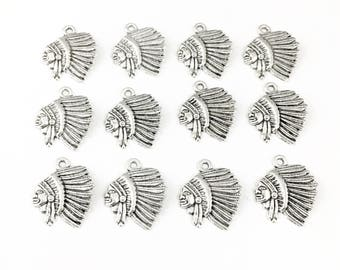 12 indian chief  charms antique silver ,22mm # CH 478