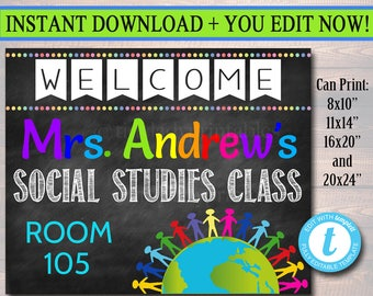 Social Studies Teacher Classroom Door Sign, History, Sociology Custom Teacher Sign Personalized Teacher Door Hanger, Humanities Teacher Gift