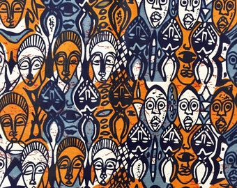 african masks african print fabric, african fabric, african fabric by the yard, ankara fabric, ankara fabric by the yard, african wax fabric
