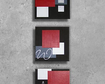 "Canvas contemporary triptych ""Fuchsia"" 3 X 30 x 30 cm"