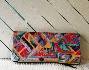 Gift for Mom/Foldover Clutch/Purple Clutch/Leather Clutch/Vintage Print Clutch/Tribal Print/Evening Bag