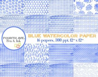 Watercolor Scrapbook Paper, Blue, Blue and White, Watercolor, Patterns, Digital Paper, Digital Wallpaper, Scrapbooking, Paper Craft