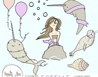 Mermaid Clipart - Narwhal Clipart - Cute - Birthday - Narwhal - Hand Drawn - Clipart - DIY Invitation - Birthday Clipart - Illustration