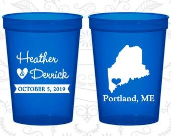 Maine Wedding Cups, Maine Wedding, Wedding Cups, Destination Wedding, State Cups, souvenir stadium cup (118)