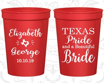 Texas Pride and a Beautiful Bride, Promotional Wedding Cups, Texas Wedding Cups, Texas Cups, Texas Pride, souvenir cups (237)